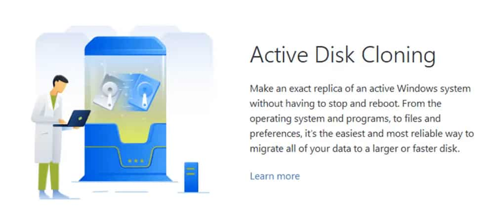 Acronis True Image active disk cloning