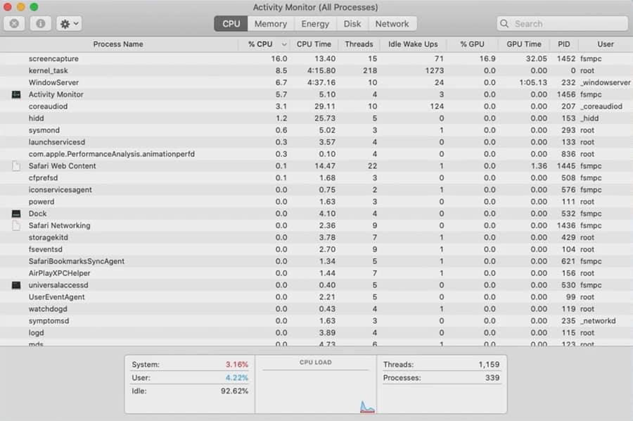 screenshot of Activity Monitor CPU usage on Mac