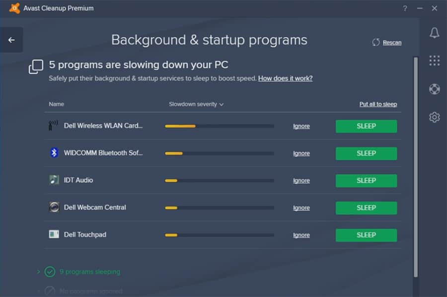 Avast Cleanup management of background apps