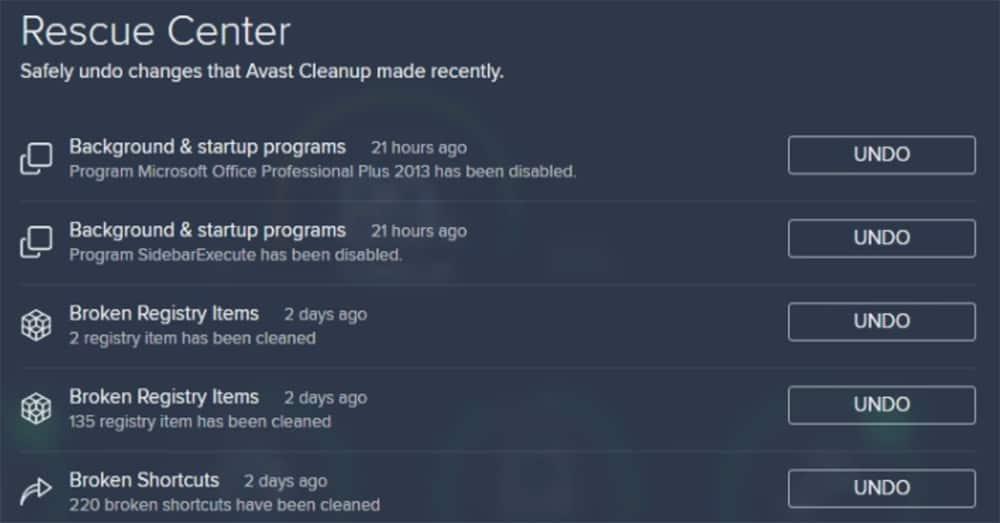 registry cleanup in Avast Cleanup Premium