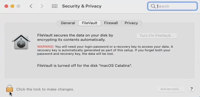 disabling FileVault Disk Encryption on Mac