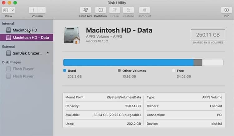 screenshot of Mac's Disk Utility