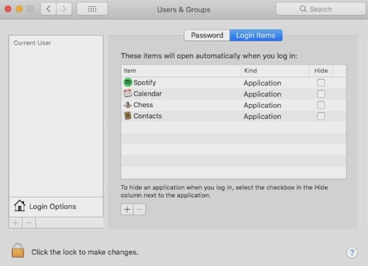 disabling Login Items on Mac