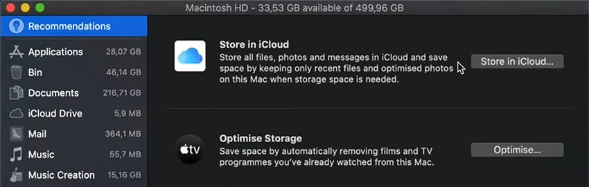 screenshot of Mac's Optimize Storage feature