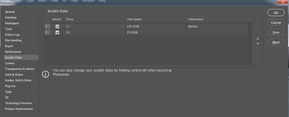 Photoshop scratch disk settings