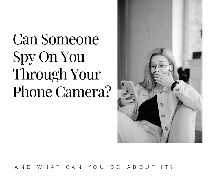 woman watching someone through their iPhone camera
