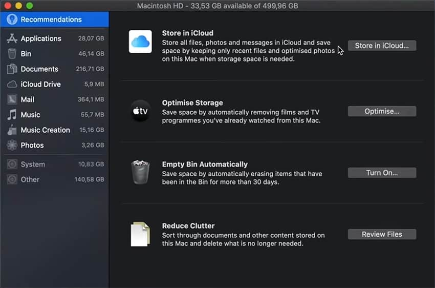 Overview of System Storage on Mac