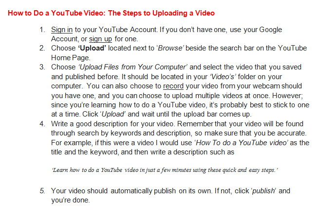 How to do a Youtube Video