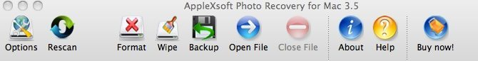 Toolbar for photo recovery for mac software