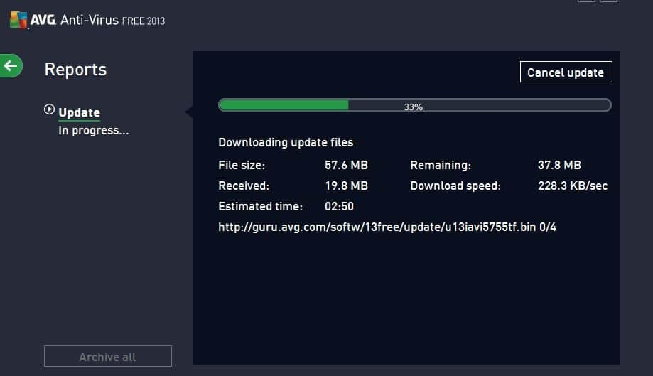 Screenshots of AVG AntiVirus FREE