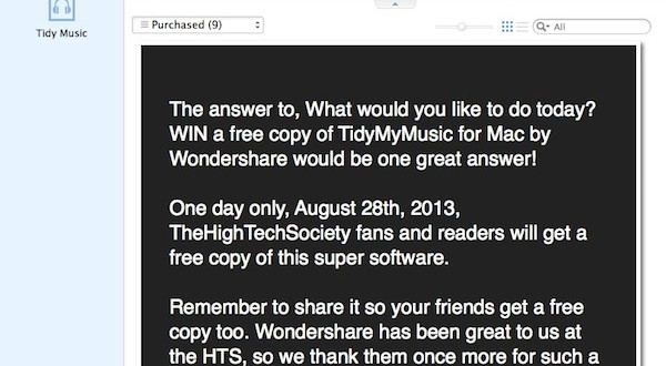 wondershare giveaway tidymymusic