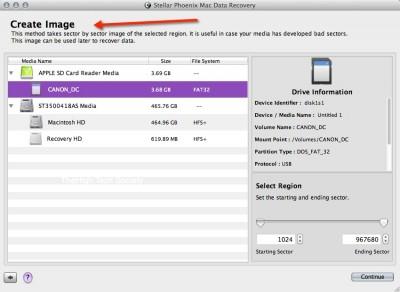 stellar mac data recovery create image
