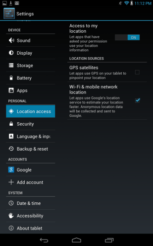 dell location settings