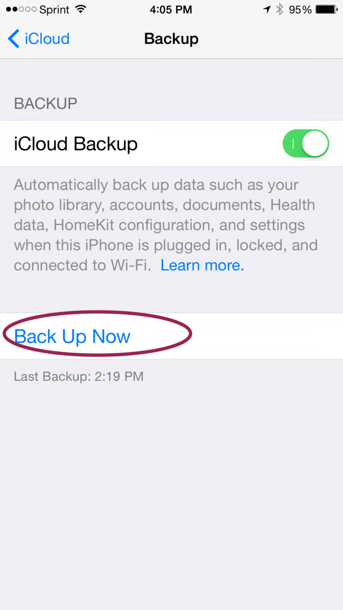 how to set up icloud backup on new phone