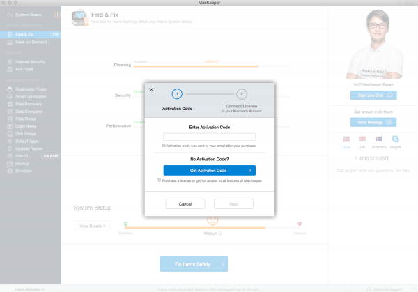 Activation code wouldn't work on MacKeeper