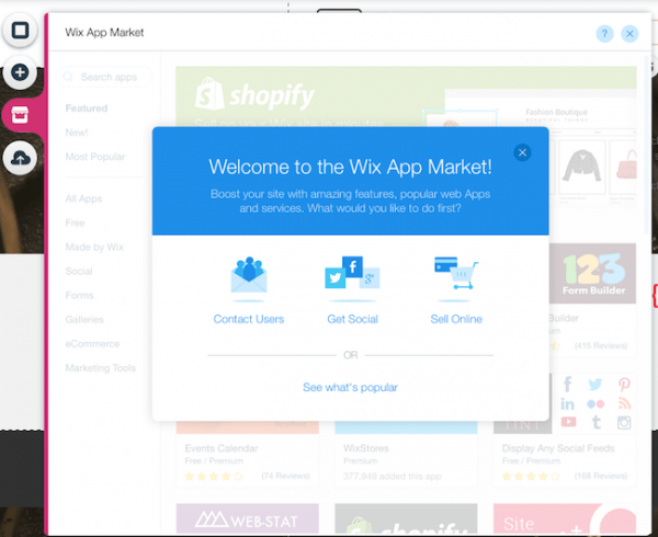 wix features apps market