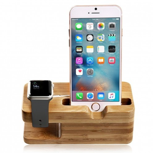 wooden bamboo apple watch stand