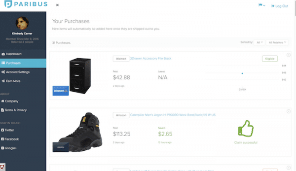 paribus online shopping dashboard eligible purchases