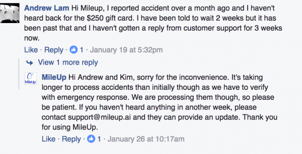 facebook mile up accident rewards reply