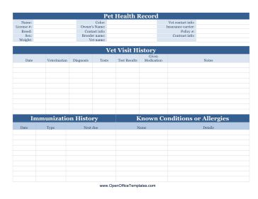 pet health record file