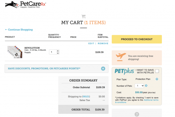 petcarerx cart for pet meds