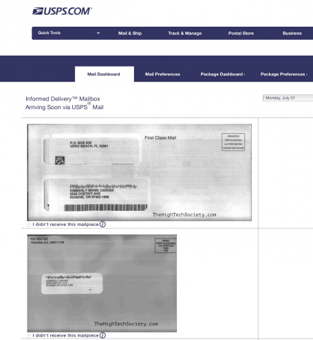USPS informed delivery scan results