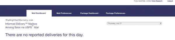 usps informed delivery no delivery day