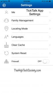 ticktalk app settings