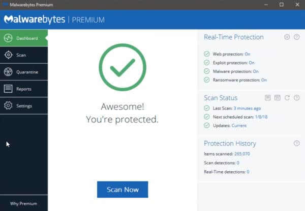 protected by Malwarebytes