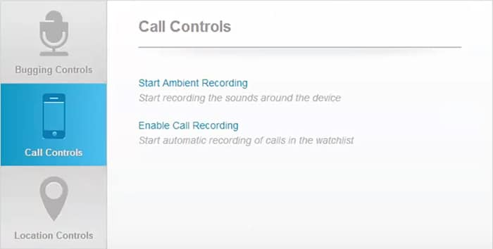 Spy app control panel for phone call monitoring