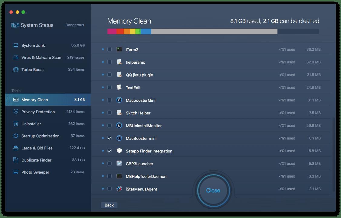 MacBooster Memory Clean