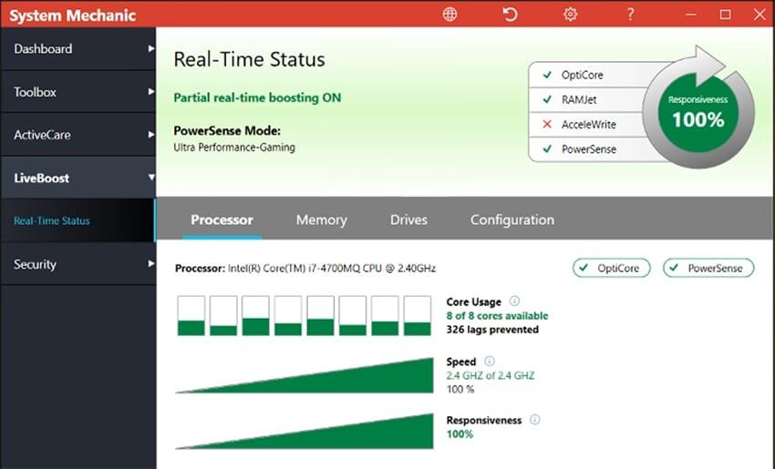 screenshot of Iolo System Mechanic LiveBoost
