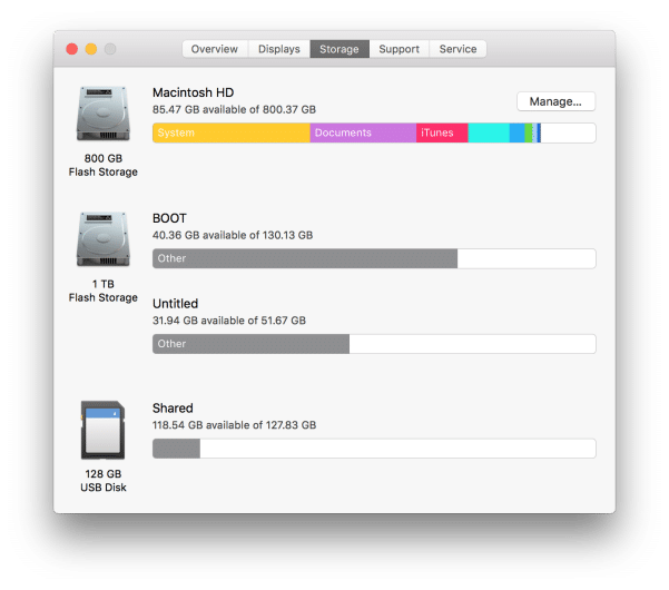 MacOS storage manager