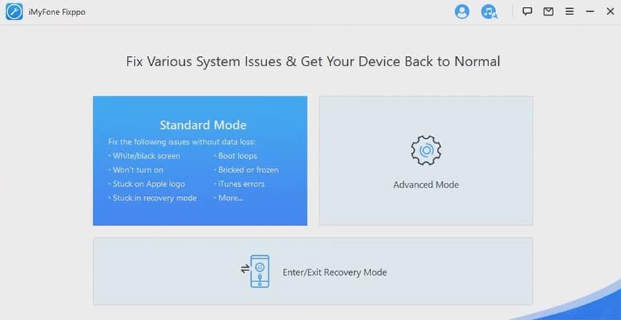 screenshot of Standard Mode in iMyFone Fixppo