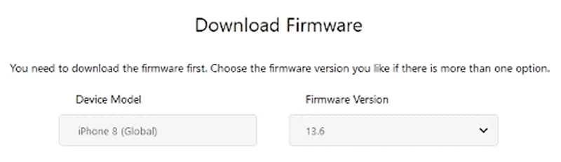 screenshot of iMyFone Fixppo firmware compatibility dropdown